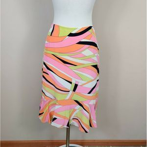 Talbots Silk Pencil Skirt Ruffled Hem Geo Abstract